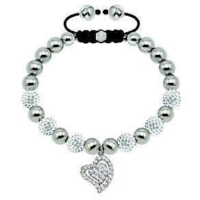 Tresor Paris steel & white crystal heart charm 8mm bracelet - Product number 1473824