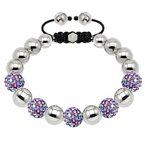 Tresor Paris steel & mixed lilac crystal ball 10mm bracelet - Product number 1473832
