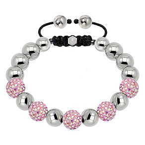Tresor Paris steel & blush pink crystal ball 10mm bracelet - Product number 1473883