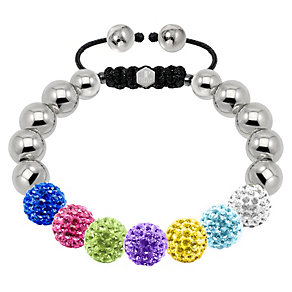 Tresor Paris steel & multi coloured crystal 10mm bracelet - Product number 1473891