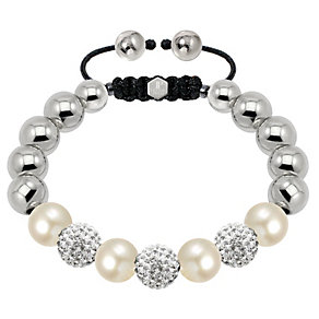 Tresor Paris steel pearl & white crystal 10mm bracelet - Product number 1473905