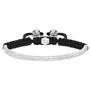 Tresor Paris 4mm stainless steel white crystal half bracelet - Product number 1474014