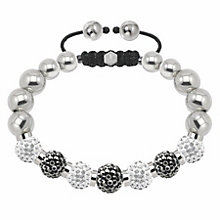 Tresor Paris steel with grey & white crystal ball bracelet - Product number 1474057