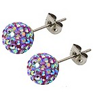 Tresor Paris 8mm titanium lilac mix crystal stud earrings - Product number 1474073