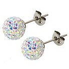 Tresor Paris 8mm titanium white mix crystal stud earrings - Product number 1474103