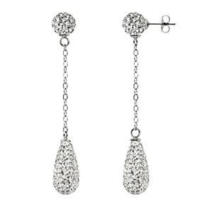 Tresor Paris titanium white crystal pear drop earrings 8mm - Product number 1474138