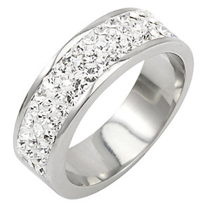 Tresor Paris 6mm stainless steel white crystal ring size L - Product number 1474235