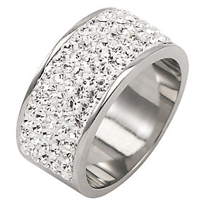 Tresor Paris 9mm stainless steel white crystal ring size L - Product number 1474294