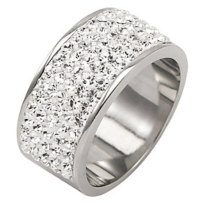 Tresor Paris 9mm stainless steel white crystal ring size N - Product number 1474316