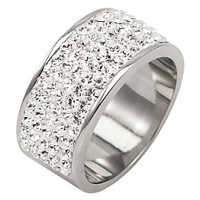 Tresor Paris 9mm stainless steel white crystal ring size P - Product number 1474332