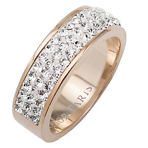 Tresor Paris 6mm 18ct rose gold-plated crystal ring size N - Product number 1474375