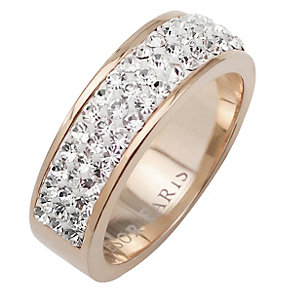 Tresor Paris 6mm 18ct rose gold-plated crystal ring size P - Product number 1474391