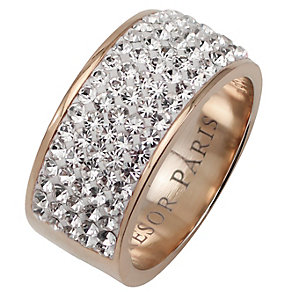 Tresor Paris 9mm 18ct rose gold-plated crystal ring size L - Product number 1474405