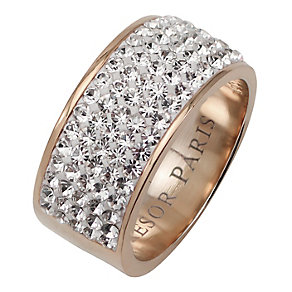 Tresor Paris 9mm 18ct rose gold-plated crystal ring size N - Product number 1474421