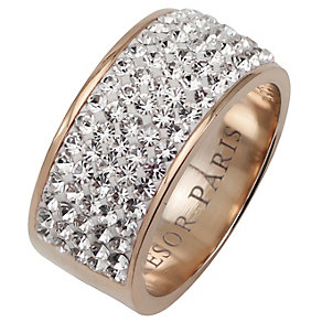Tresor Paris 9mm 18ct rose gold-plated crystal ring size P - Product number 1474456