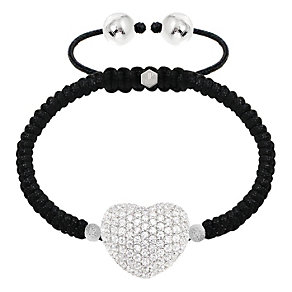 Tresor Paris white gold-plated crystal pave heart bracelet - Product number 1474537