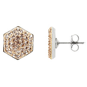 Tresor Paris hexagonal 8mm gold tone crystal stud earrings - Product number 1474707
