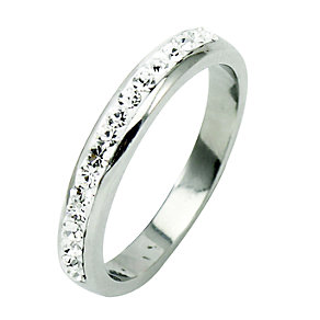 Tresor Paris 4mm stainless steel white crystal ring size L - Product number 1474723