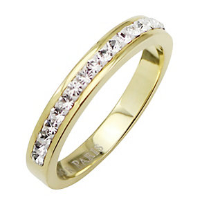 Tresor Paris 4mm gold-plated white crystal ring size L - Product number 1474790