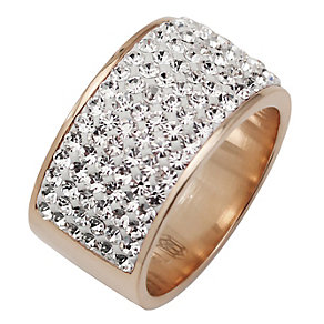 Tresor Paris 11mm rose gold-plated white crystal ring size L - Product number 1475029
