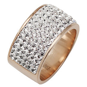 Tresor Paris 11mm rose gold-plated white crystal ring size N - Product number 1475037