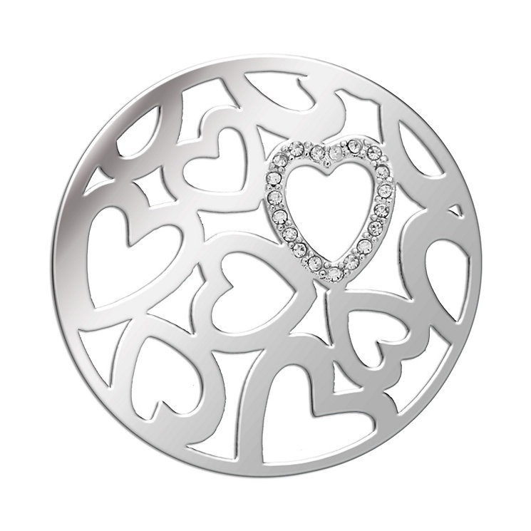 Lucet Mundi silver tone crystal love hearts coin - small - Product number 1475118
