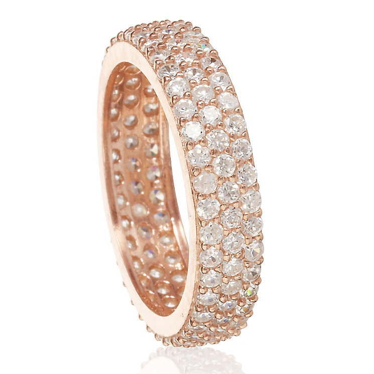 Gaia Sterling Silver Rose Gold-Plated Zirconia Ring Size N - Product number 1475517