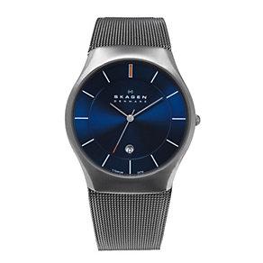 Skagen Aktiv men's blue dial titanium mesh bracelet watch - Product number 1476459