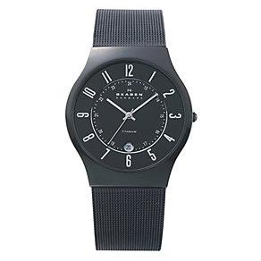 Skagen Klassik ladies' black ion-plated mesh bracelet watch - Product number 1476548
