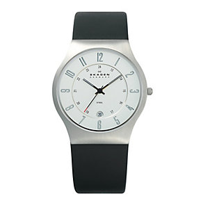 Skagen Klassik men's white dial black rubber strap watch - Product number 1476572