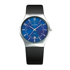 Skagen Klassik men's blue dial black rubber strap watch - Product number 1476580