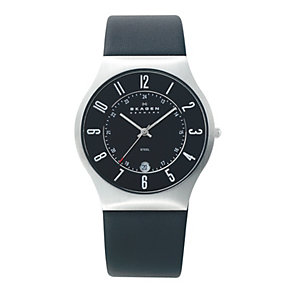 Skagen Klassik men's steel black rubber strap watch - Product number 1476599