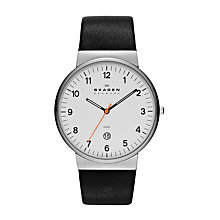 Skagen Ancher Men's White Dial Black Leather Strap Watch - Product number 1476645