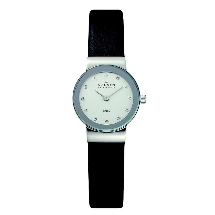 Skagen Freja Stainless Steel Black Leather Strap Watch - Product number 1476769
