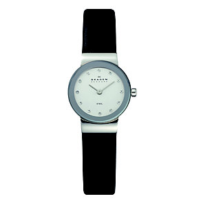 Skagen Klassik stainless steel black leather strap watch - Product number 1476769