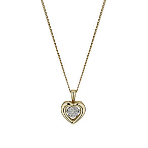 Diamonds in Rhythm 9ct Gold Diamond Heart Pendant - Product number 1477498