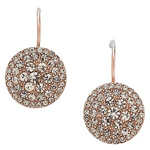 fossil rose gold plated pave crystal drop earrings ernest jones. Black Bedroom Furniture Sets. Home Design Ideas