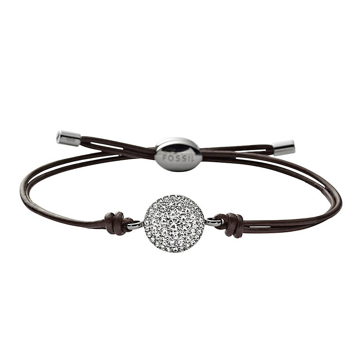 Fossil ladies' stainless steel stone set  leather bracelet - Product number 1478737