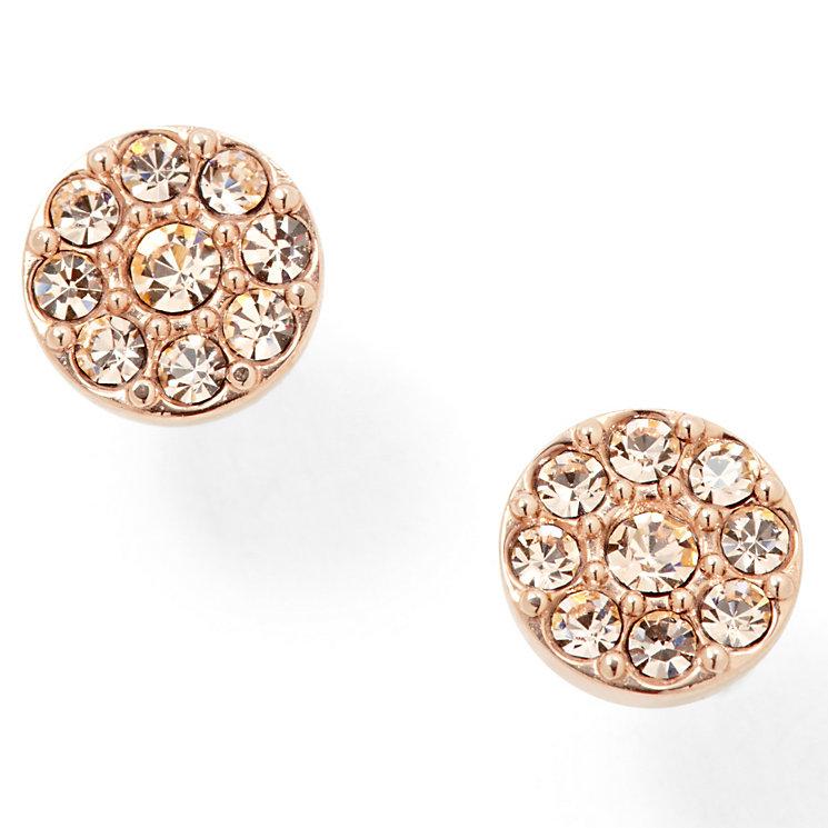 fossil rose gold plated pave crystal stud earrings. Black Bedroom Furniture Sets. Home Design Ideas