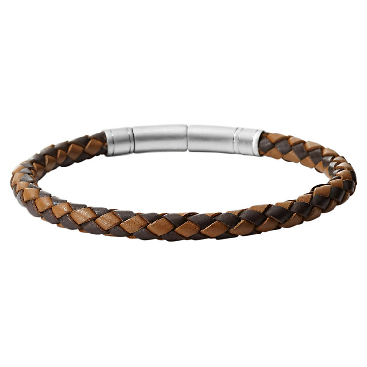 Fossil men's brown leather thin braid bracelet - Product number 1478923