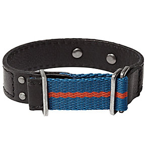 Fossil men's blue canvas & black leather cuff - Product number 1479105