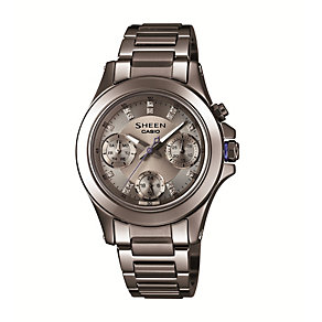 Casio Sheen Ladies' Swarovski Elements Grey Ceramic Watch - Product number 1479164