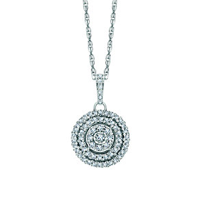 Sterling Silver Halo Cluster Forty Point Diamond Pendant - Product number 1479172