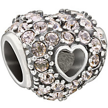 Chamilia sterling silver pave rose crystal open heart bead - Product number 1479598