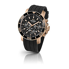 TW Steel men's rose gold-plated black rubber strap watch - Product number 1479709