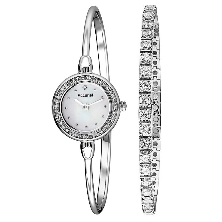 Accurist Stainless Steel Bangle Watch & Tennis Bracelet Set - Product number 1479725