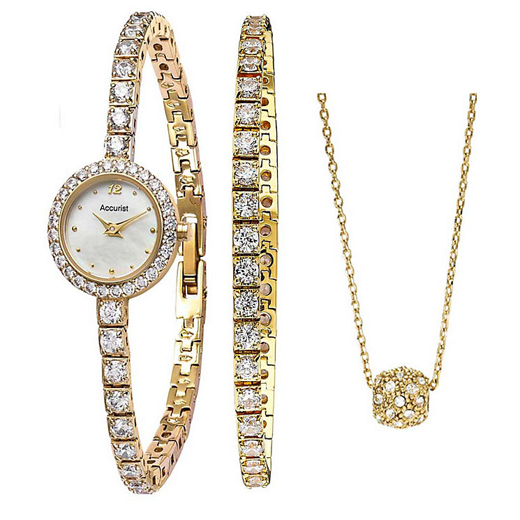 Accurist Gold-Plated Stone Set Watch, Bracelet & Pendant Set - Product number 1479733