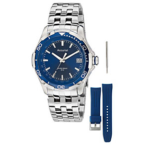 Accurist Men's Stainless Steel & Blue Rubber Strap Watch Set - Product number 1479741
