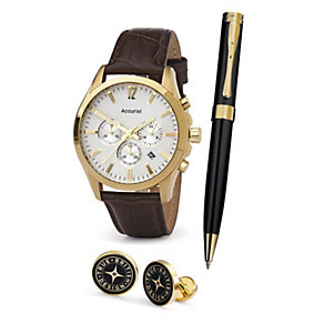 Accurist Men's Gold-Plated Watch, Pen & Cufflinks Set - Product number 1479776