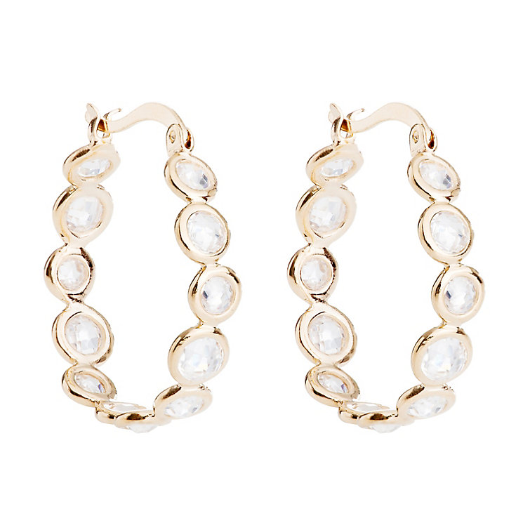Gaia Gold-Plated Cubic Zirconia Hoop Earrings - Product number 1479784